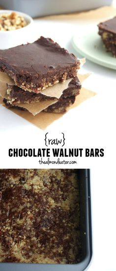 Raw Chocolate Walnut Bars-these raw, vegan bars are delicious! If you like chocolate and walnuts, you're going to love these.