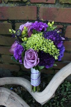 Fall Modern Shabby Chic Spring Summer Green Purple Bouquet Wedding Flowers Photos & Pictures - WeddingWire.com