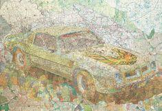 Transamerica - map collage by Matthew Cusick, 2004 #art #maps #cars