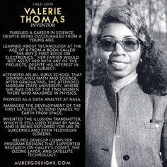 aubergdesigns:Valerie Thomas, inventor of the illusion transmitter. #WomeninSTEM #WomensHistoryMonth http://ift.tt/1EYPxZm