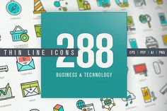 Thin Line Icons Set for Technology by PureSolution on @creativemarket