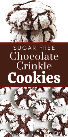 YUMMY COOKIES! This really is a perfect cookie recipe idea for holiday and Christmas baking! Make this yummy dessert cookies homemade diy recipe for sugar free chocolate crinkle cookies with gluten free and low carb options. Keto Cookies, Healthy Sugar Cookies, Gluten Free Sugar Cookies, Sugar Free Baking, Diabetic Cookies, Brownie Cookies, Yummy Cookies, Sugar Free Deserts, Sugar Free Sweets