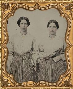 Mill girls with aprons holding their shuttles from LoC