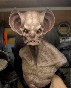 Bat creature bust by BOULARIS on dA