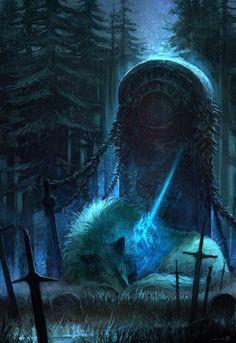 "werewolf-fiction: "" Festigame - Dark Souls by Fesbraa "" Dark Souls 3, Dark Souls All Bosses, Anime Wolf, Fantasy World, Fantasy Art, Soul Saga, Fantasy Landscape, Mythical Creatures, Dark Art"