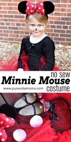 Get out your hot glue gun! This Minnie Mouse costume is insanely easy and adorable! Baby Halloween Outfits, Halloween Crafts For Kids, Disney Costumes, Creative Halloween Costumes, Halloween Activities, Halloween Diy, Family Halloween, Halloween Decorations, Family Costumes