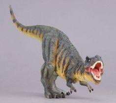 Impresionante réplica de Tiranosaurio rex, el dinosaurio más temido del Cretácico. Figura rugiendo en posición de defensa que imita perfectamente el movimiento del animal cuando cazaba sus presas preferidas el Iguanodon y el Mutaburrasaurus. Es una réplica de gran realismo y detalle, parece de verdad! Alto: 15 cm Largo: 29,50 cm Edad: a partir de 3 años Marca: Collecta. Ref. 30301.Precio: 19.00 € IVA incluido