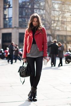 red leather motorcylce jacket, street style, new york style, black skinny jeans, boots