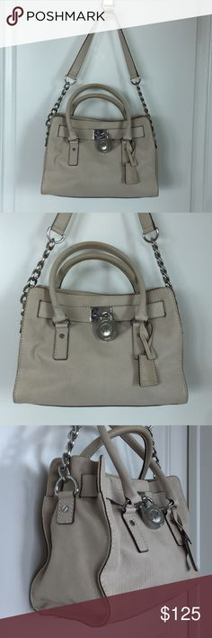 """Michael Kors Beige Saffiano Hamilton Satchel Bag Michael Kors Beige Medium Hamilton Bag - Beige color.  Preowned and in excellent condition.  Two very tiny spots which you can see in two of the photos.  Measures 12 X 9 X 5.  Strap drop 10"""" handle drop 7"""". Michael Kors Bags Satchels"""