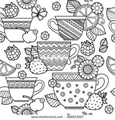 Vector Seamless pattern. Cup of herbal tea.Flowers and fruits