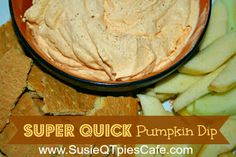 Pumpkin Dip  Ingredients  1- 16oz carton frozen whipped topping, thawed 1- 5oz pkg instant vanilla pudding mix 1- 15oz can solid pack pumpkin 1 tsp pumpkin pie spice ginger snaps, graham crackers, apples cinnamon graham sticks  Directions  Mix in a large bowl and refrigerate. It is ready whenever you want to eat it.  I love it with graham crackers.  It is very easy and is a hit with all ages!  I always sprinkle the serving bowl with more pumpkin pie spice.