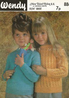 Wendy 886 toddler baby jumpers vintage knitting by Ellisadine, Jumper Knitting Pattern, Knitting Wool, Vintage Knitting, Double Knitting, Baby Knitting Patterns, Vintage Crochet, Vintage Jumper, Baby Jumpers, American Girl
