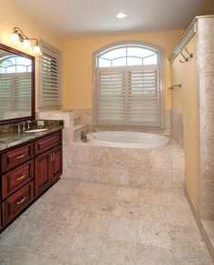 Master bathroom from The Evangeline, plan 1137! http://www.dongardner.com/plan_details.aspx?pid=3096. #Master #Bathroom #Home