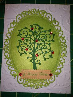 Shana tova card, Jewish new year card.   spellbinders whimsical tree die, Spellbinders Nestabilities Floral Ovals, spellbinders fancy postage label.