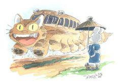 Stan Sakai: Catbus and Usagi Yojimbo commission in Steven Ng's Theme: Hayao Miyazaki characters Comic Art Gallery Room Usagi Yojimbo, My Neighbor Totoro, Hayao Miyazaki, Tmnt, Comic Art, Otaku, Pikachu, Disney Characters, Fictional Characters