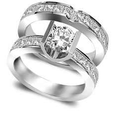 #BRIDALSET 3.20 CT ROUND TENSION CLASSIC CHANNEL SET DIAMOND ENGAGEMENT RING BRIDAL SET