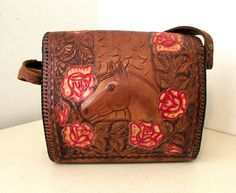 Vintage Tooled Leather Purse with horse and rose design  www.thehoneyblossomstudio.com