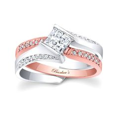 Barkev's Designer Bridal 2 piece set in 14KT Rose and White Gold with 0.14 ct of Round Cut Diamonds 7880STW - Stunning and unique this two tone rose and white gold interlocking  diamond wedding set exudes confidence for the woman who wears it. The  white gold engagement ring is set with a channel set princess cut  diamond center and pave set diamonds cascade down the shoulders.  The  rose gold wedding ring is pave set with diamonds to match and slips into  the engagement ring for a locking…