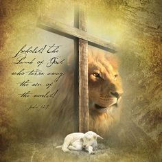 Christian wall art with picture of the Lion of Judah and the Lamb of God with the cross of Jesus Christ. Christian Posters, Christian Wall Art, Lion And Lamb, Christian Motivation, Tribe Of Judah, Prophetic Art, Jesus On The Cross, Religious Art, Lions