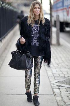 Led Zeppelin tee / sequin trousers / fur jacket / black leather slouch bag