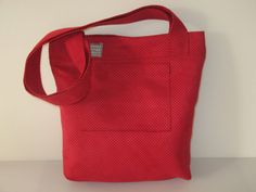 big shoulder bag tote red with outside pocket by LIGONaccessories, $69.00