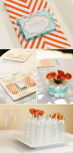 Cute Orange and Aqua Baby Shower