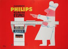 Philips Cuisiniere original vintage product poster from 1958 by artist Gabriel Humair. French stove company advertisement.