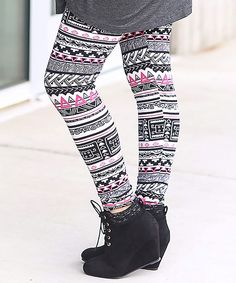 Another great find on #zulily! Black & Pink Geometric Leggings by CoziBear Boutique #zulilyfinds