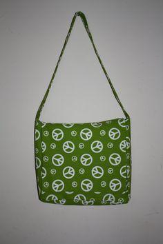 Green Peace Messenger/Diaper Bag   #handmade #bag #purse #sewing