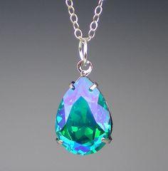 $18 Blue Zircon Glacier Blue Rhinestone Necklace Swarovski Sterling Silver Teal Blue Green Wedding Bridesmaid Necklace