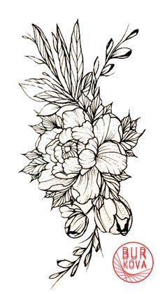 Tattoo sketch peony