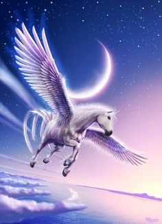 Pegasus by Varges. Pegasus is one of the best known mythological creatures in Greek mythology. He is a winged divine horse, usually depicted as white in colour. He was sired by Poseidon, in his role as horse-god, and foaled by the Gorgon Medusa. Unicorn And Fairies, Unicorn Fantasy, Unicorn Art, Fantasy Art, Mythical Creatures Art, Mythological Creatures, Magical Creatures, Fantasy Creatures, Unicorn Pictures