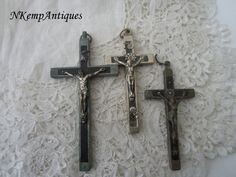 Antique crucifix x 3  for re-purpose by Nkempantiques on Etsy