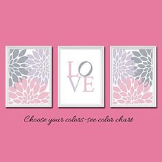 Love Wall Art Flower Bursts Pink Lavender Gray Grey 3 piece Set custom colors Kids Room. Set of 3 8 x 10 Prints - these would make a great addition to any baby nursery, kid's room or playroom. All artwork is custom made per order. Please see my color chart to customize colors. FRAMES NOT INCLUDED. All of our designs are printed on premium satin-gloss luster 68 lb weight photo paper to insure the colors are as bright printed as they are when we create them. Please let me know of color…