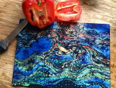 8 x 11 Garden Rain Cutting Board Detail from original batik by Carol Garden in Summer rain
