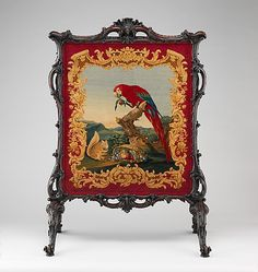 "Cheval Fire Screen, Britain, 1755-1760, Mahogany, wool knotted-pile panel not original to the screen. From the curators' comments: ""Made for the Countess of Shaftesbury (d. 1758) for Saint Giles's Haouse, Dorset, this fire screen has a Rococo frame that is related to designs by Thomas Chippendale (The Gentleman and Cabinet-Maker's Director, 1754). The panel, based on a cartoon made for the Savonnerie manufactory in Paris, was woven in England, probably by Thomas Whitty at Axminister."" The…"