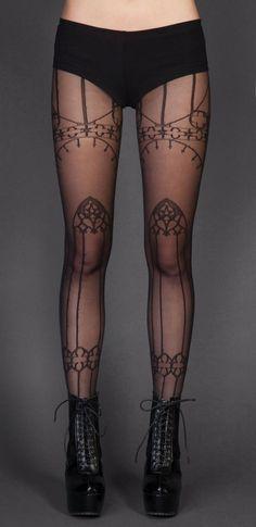 Nu Goth Fashion Tip Nº3: Cathedral Print Pantyhose - http://ninjacosmico.com/22-fashion-tips-nu-goth/