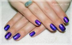 """foiled Shellac in """"Deep Blue"""" pigment with blue and purple holographic foiling."""