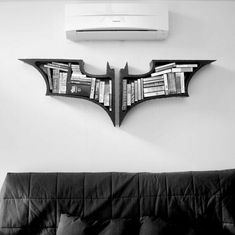"""The Dark Knight Bookshelves A set of bookshelves. - The Dark Knight Bookshelves """" A set of bookshelves based on the popular franchise of Nolanverse Batman. No current stock, just made to order. Dimension : 22 x 32 inch / 56 x 82 cm """" The Dark Knight Trilogy, Batman The Dark Knight, Batman Dark, Batman Bookshelf, My New Room, Diy Hacks, My Dream Home, My House, Future House"""