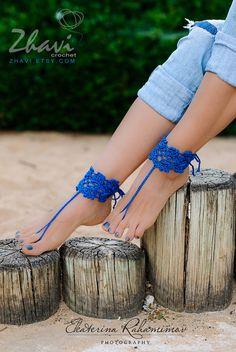 IDEA Blue Crochet Barefoot Sandals Bridal Jewelry Wedding от ZHAVI