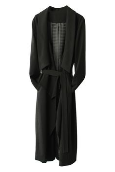 ROMWE | Longline Black Trench Coat, The Latest Street Fashion #ROMWE