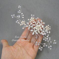Wedding Hair Accessories,Large Bridal Hair Combs. Pearl Rhinestone Cr…