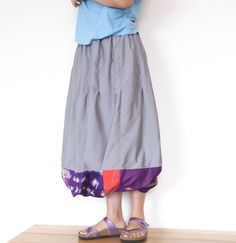 Balloon skirt with Vintage Kimono Fabric -Long.