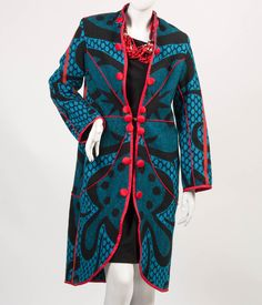 Kobo Ea Bohali Coat - Full Length (Blue) - SALE - Basotho blankets, a southern Africa winter mainstay, have been re-fashioned into outwear. Lesotho-b - African Fashion Traditional, South African Fashion, African Fashion Designers, African Print Fashion, African Print Dresses, African Fashion Dresses, African Dress, African Prints, African Attire