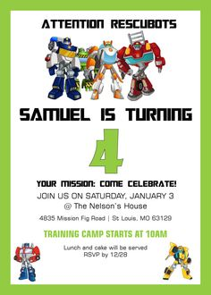 Rescue Bots Birthday Invitation by PreparingforPeanut on Etsy