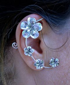 Elf Cuff Plumeria - Silver, Elf Ears, Fahion Jewelry – Hair Twisters