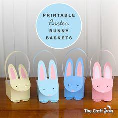 Printable pastel Easter bunny baskets