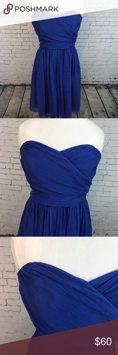100% Silk J. Crew Dress Cobalt blue size 12 100% silk J. Crew cocktail dress. One tiny spot, I have not dry cleaned to try to remove. It's shown in photo three. No picks or pulls J. Crew Dresses Strapless