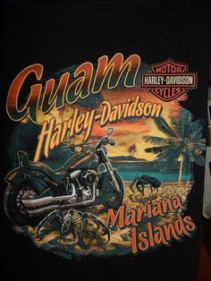 Harley Davidson Guam Mariana Islands Shirt Size L Large Motorcycle Beach Sunset #HarleyDavidson #GraphicTee