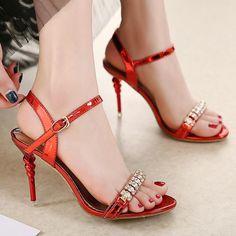 3f433838ec41 Ankle Wraps Hasp Open Toe Transparent Stiletto High Heel Sandals ...